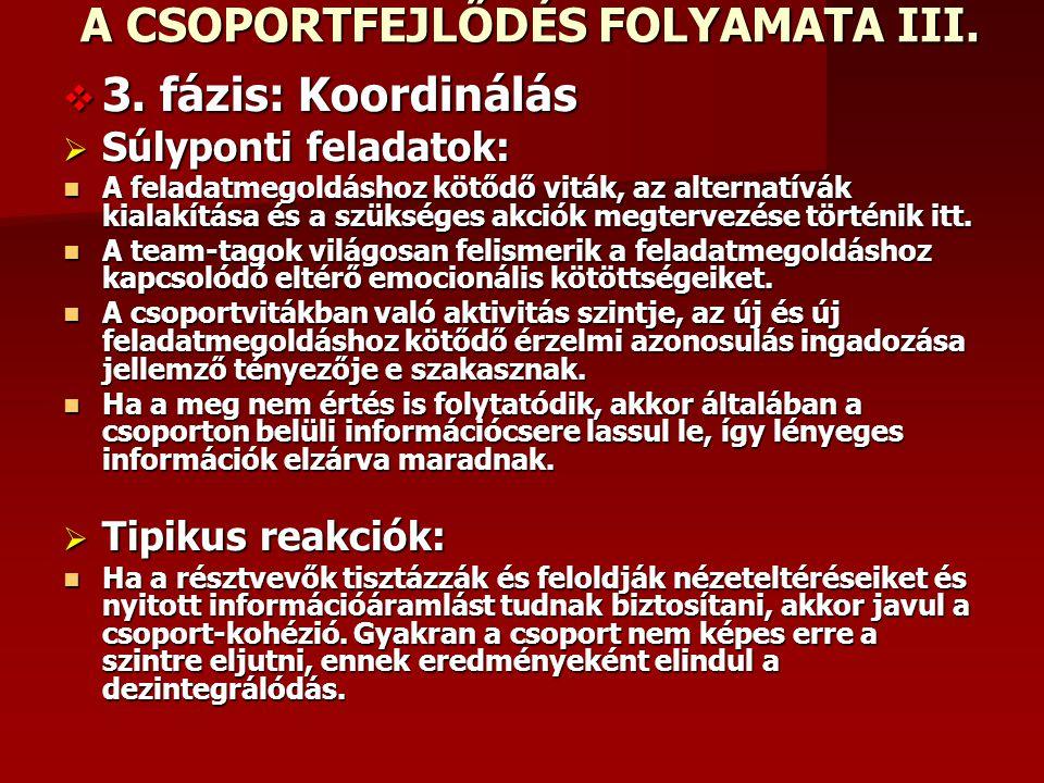 A CSOPORTFEJLŐDÉS FOLYAMATA II.  2.  2. fázis: Újraértelmezés  Súlyponti  Súlyponti feladatok: Acsoportok elfogadván a feladatot és kifejezik elkö