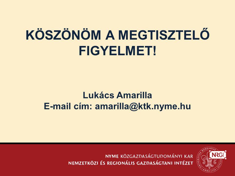KÖSZÖNÖM A MEGTISZTELŐ FIGYELMET! Lukács Amarilla E-mail cím: amarilla@ktk.nyme.hu