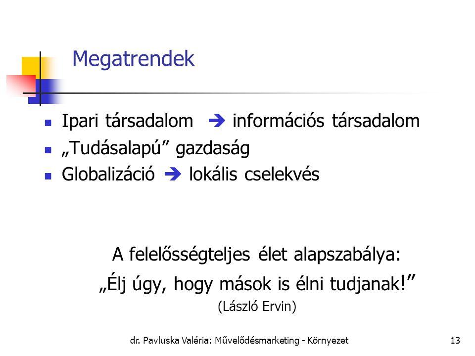 """dr. Pavluska Valéria: Művelődésmarketing - Környezet13 Megatrendek Ipari társadalom  információs társadalom """"Tudásalapú"""" gazdaság Globalizáció  loká"""