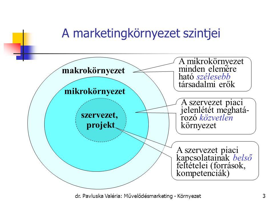 dr. Pavluska Valéria: Művelődésmarketing - Környezet3 A marketingkörnyezet szintjei szervezet, projekt mikrokörnyezet makrokörnyezet A mikrokörnyezet