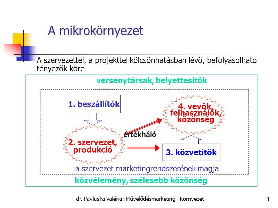dr. Pavluska Valéria: Művelődésmarketing - Környezet4 A mikrokörnyezet versenytársak, helyettesítők közvélemény, szélesebb közönség 1. beszállítók 2.