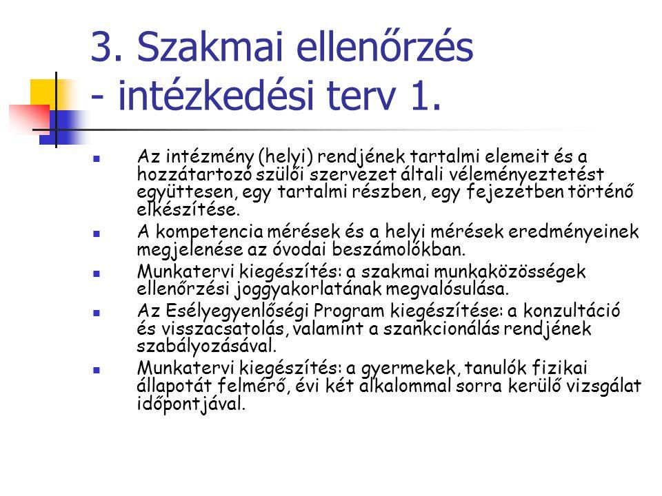 3. Szakmai ellenőrzés - intézkedési terv 1. Az intézmény (helyi) rendjének tartalmi elemeit és a hozzátartozó szülői szervezet általi véleményeztetést