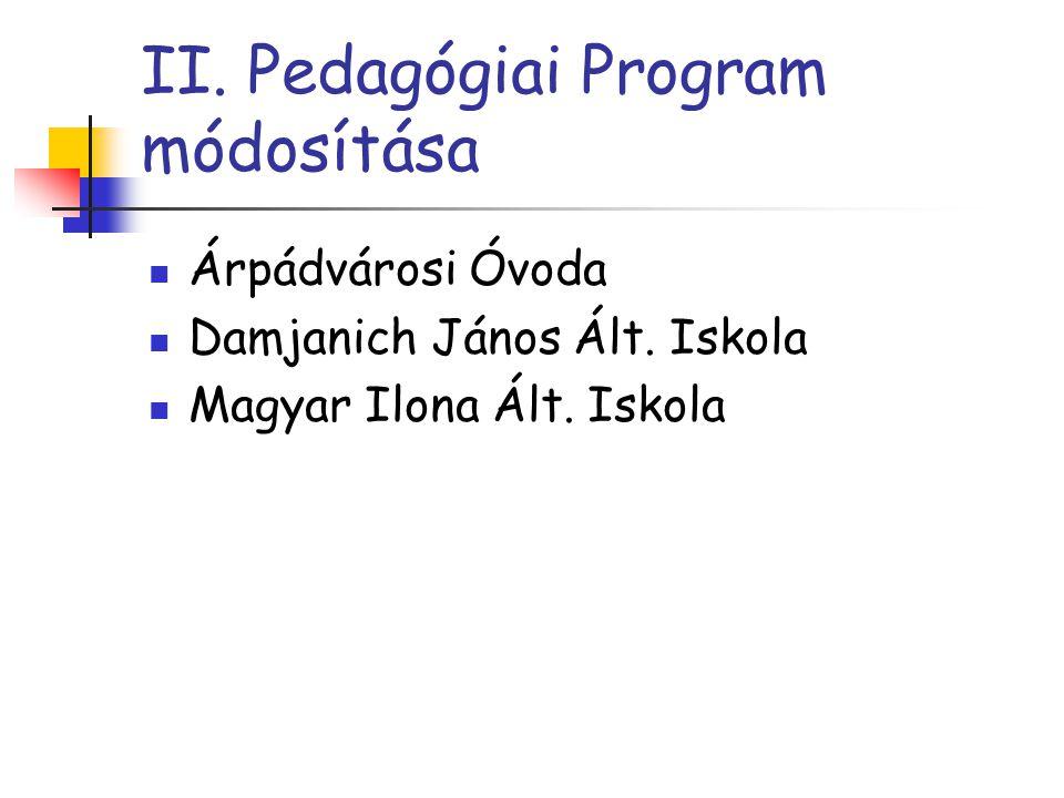 II. Pedagógiai Program módosítása Árpádvárosi Óvoda Damjanich János Ált. Iskola Magyar Ilona Ált. Iskola