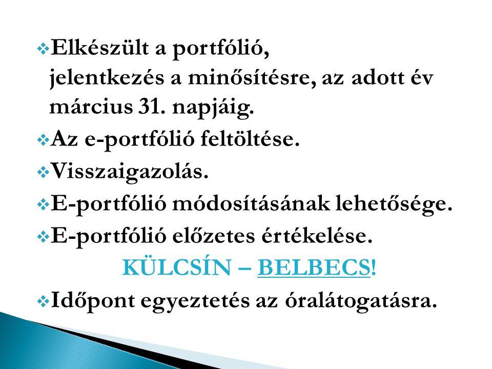  Elkészült a portfólió, jelentkezés a minősítésre, az adott év március 31. napjáig.  Az e-portfólió feltöltése.  Visszaigazolás.  E-portfólió módo