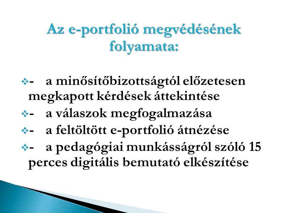 Az e-portfolió megvédésének folyamata:  -a minősítőbizottságtól előzetesen megkapott kérdések áttekintése  -a válaszok megfogalmazása  -a feltöltöt
