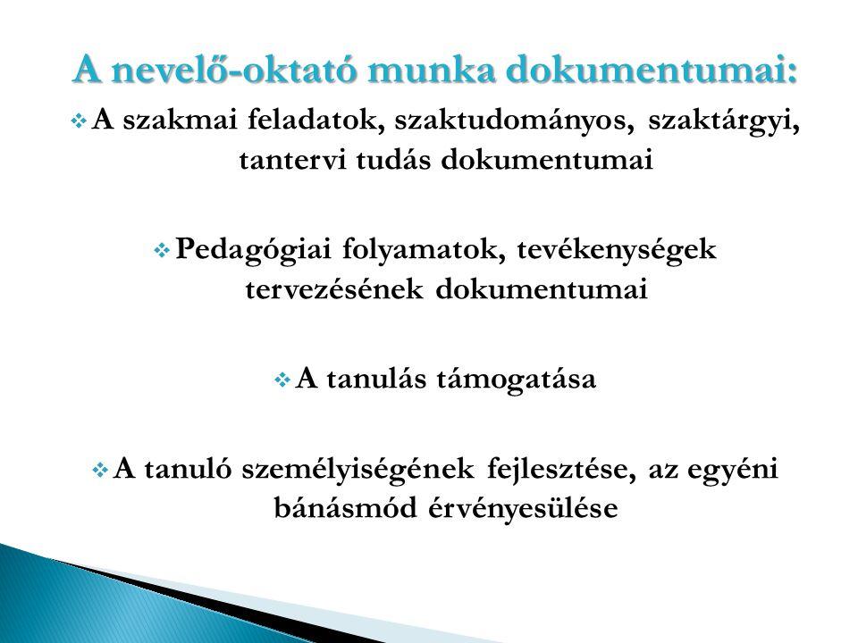 A nevelő-oktató munka dokumentumai:  A szakmai feladatok, szaktudományos, szaktárgyi, tantervi tudás dokumentumai  Pedagógiai folyamatok, tevékenysé