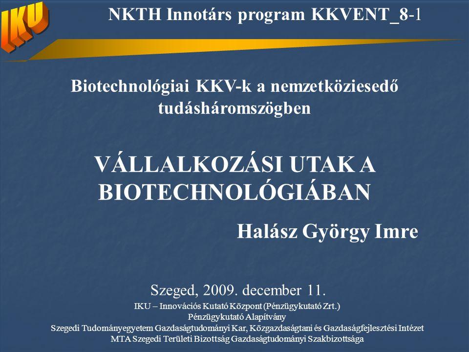 Biotechnológiai KKV-k a nemzetköziesedő tudásháromszögben VÁLLALKOZÁSI UTAK A BIOTECHNOLÓGIÁBAN Halász György Imre Szeged, 2009.