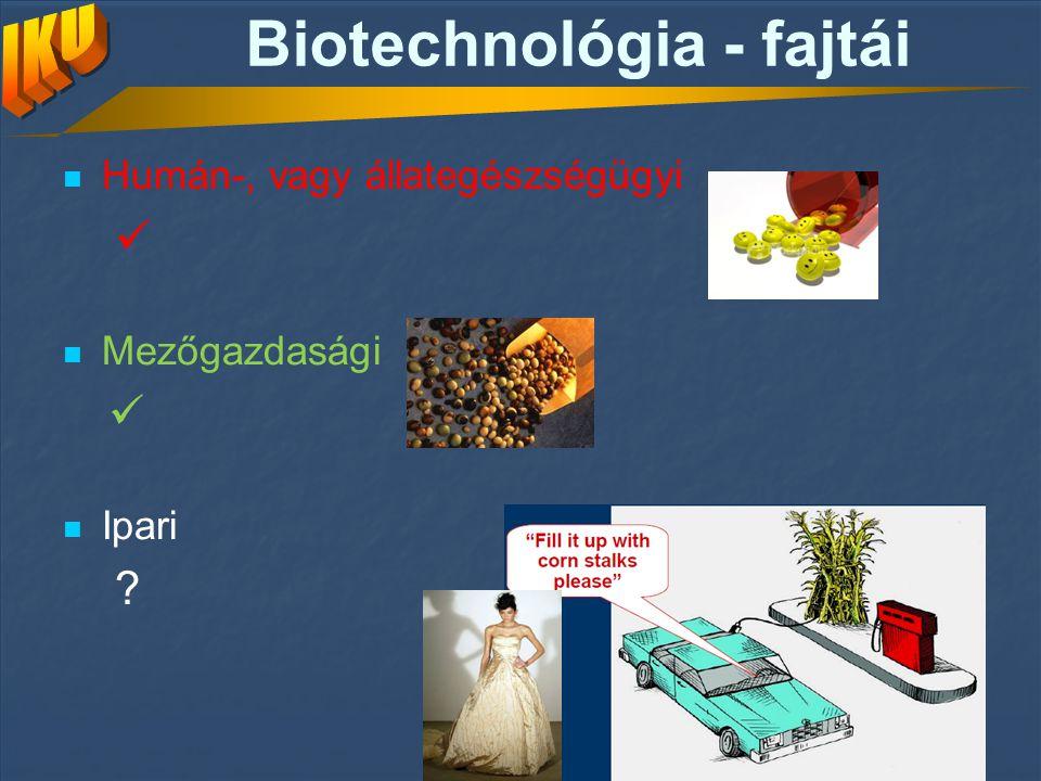 Biotechnológia - fajtái Humán-, vagy állategészségügyi Mezőgazdasági Ipari