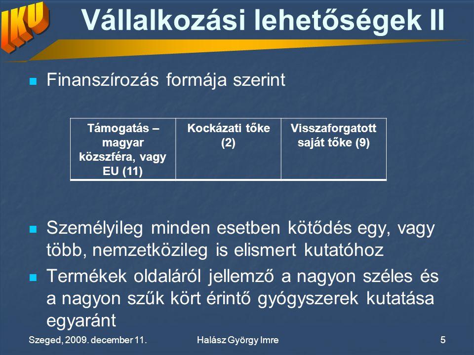 Vállalkozási lehetőségek II Finanszírozás formája szerint Személyileg minden esetben kötődés egy, vagy több, nemzetközileg is elismert kutatóhoz Termékek oldaláról jellemző a nagyon széles és a nagyon szűk kört érintő gyógyszerek kutatása egyaránt Támogatás – magyar közszféra, vagy EU (11) Kockázati tőke (2) Visszaforgatott saját tőke (9) Halász György ImreSzeged, 2009.