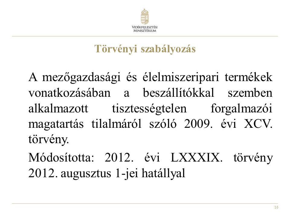 16 Törvényi szabályozás A mezőgazdasági és élelmiszeripari termékek vonatkozásában a beszállítókkal szemben alkalmazott tisztességtelen forgalmazói magatartás tilalmáról szóló 2009.