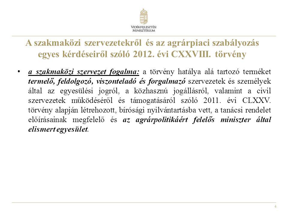 4 A szakmaközi szervezetekről és az agrárpiaci szabályozás egyes kérdéseiről szóló 2012.