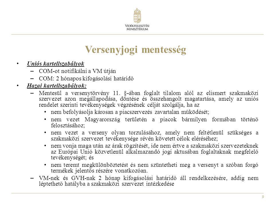 9 Versenyjogi mentesség Uniós kartellszabályok – COM-ot notifikálni a VM útján – COM: 2 hónapos kifogásolási határidő Hazai kartellszabályok: – Mentesül a versenytörvény 11.