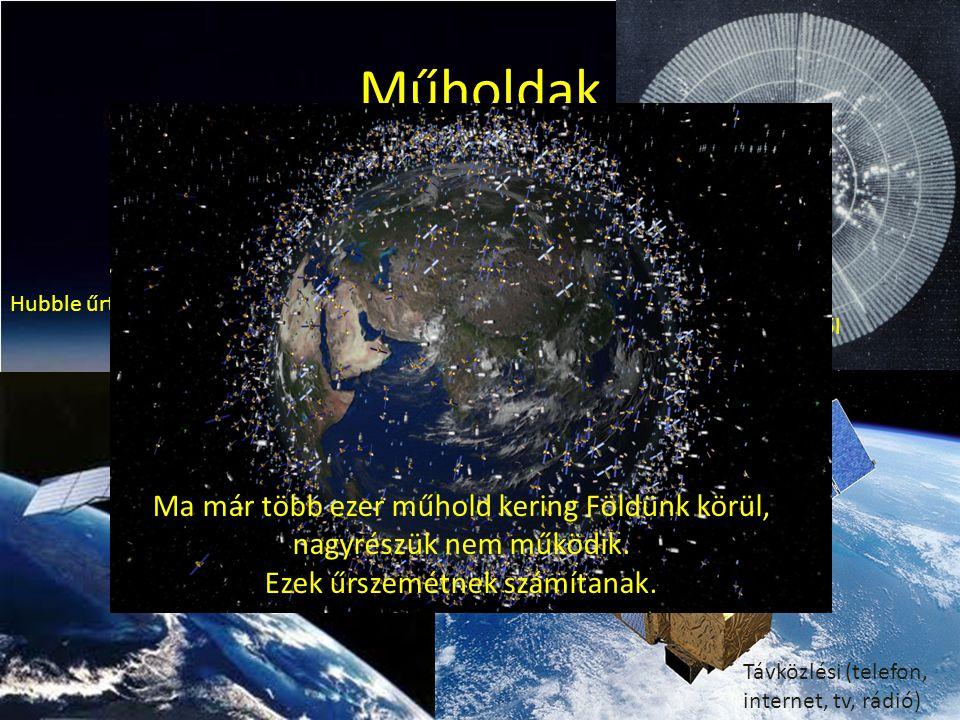 Műholdak Hubble űrtávcső Időjárási kép az űrből Titkos felderítő, katonai műhold Távközlési (telefon, internet, tv, rádió) Ma már több ezer műhold ker