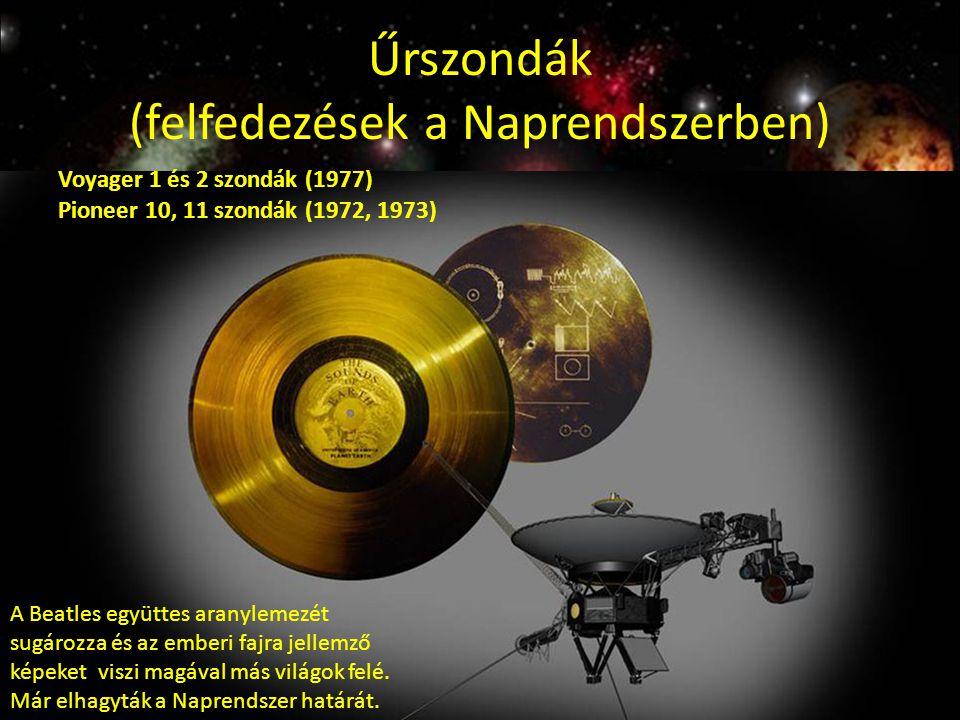 Űrszondák (felfedezések a Naprendszerben) Voyager 1 és 2 szondák (1977) Pioneer 10, 11 szondák (1972, 1973) A Beatles együttes aranylemezét sugározza