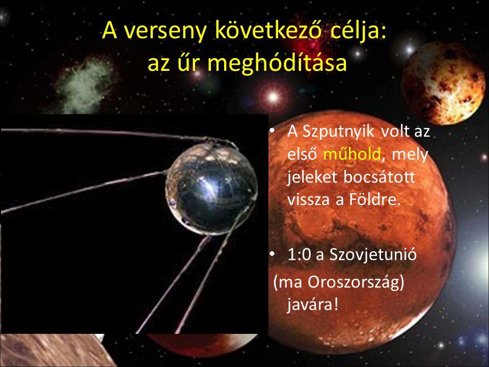 A verseny következő célja: az űr meghódítása A Szputnyik volt az első műhold, mely jeleket bocsátott vissza a Földre. 1:0 a Szovjetunió (ma Oroszorszá