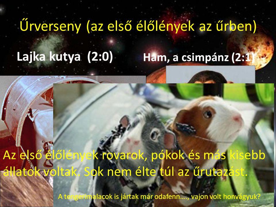 Űrverseny (az első élőlények az űrben) Lajka kutya (2:0) Ham, a csimpánz (2:1) A tengerimalacok is jártak már odafenn…., vajon volt honvágyuk? Az első