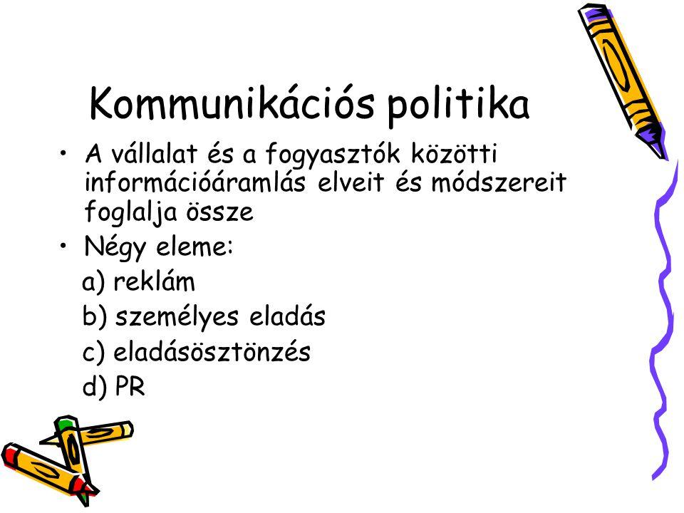 Kommunikációs politika A vállalat és a fogyasztók közötti információáramlás elveit és módszereit foglalja össze Négy eleme: a) reklám b) személyes ela