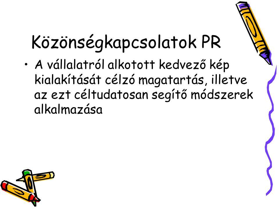 Közönségkapcsolatok PR A vállalatról alkotott kedvező kép kialakítását célzó magatartás, illetve az ezt céltudatosan segítő módszerek alkalmazása