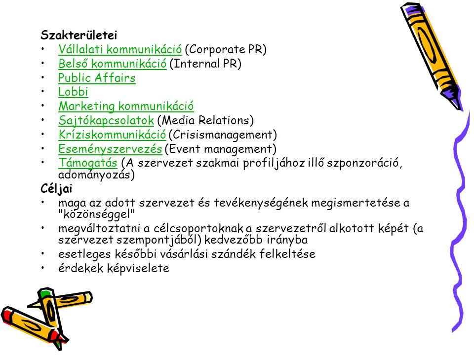 Szakterületei Vállalati kommunikáció (Corporate PR)Vállalati kommunikáció Belső kommunikáció (Internal PR)Belső kommunikáció Public Affairs Lobbi Mark