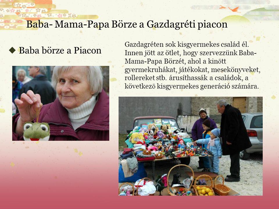  Baba börze a Piacon Baba- Mama-Papa Börze a Gazdagréti piacon Gazdagréten sok kisgyermekes család él.