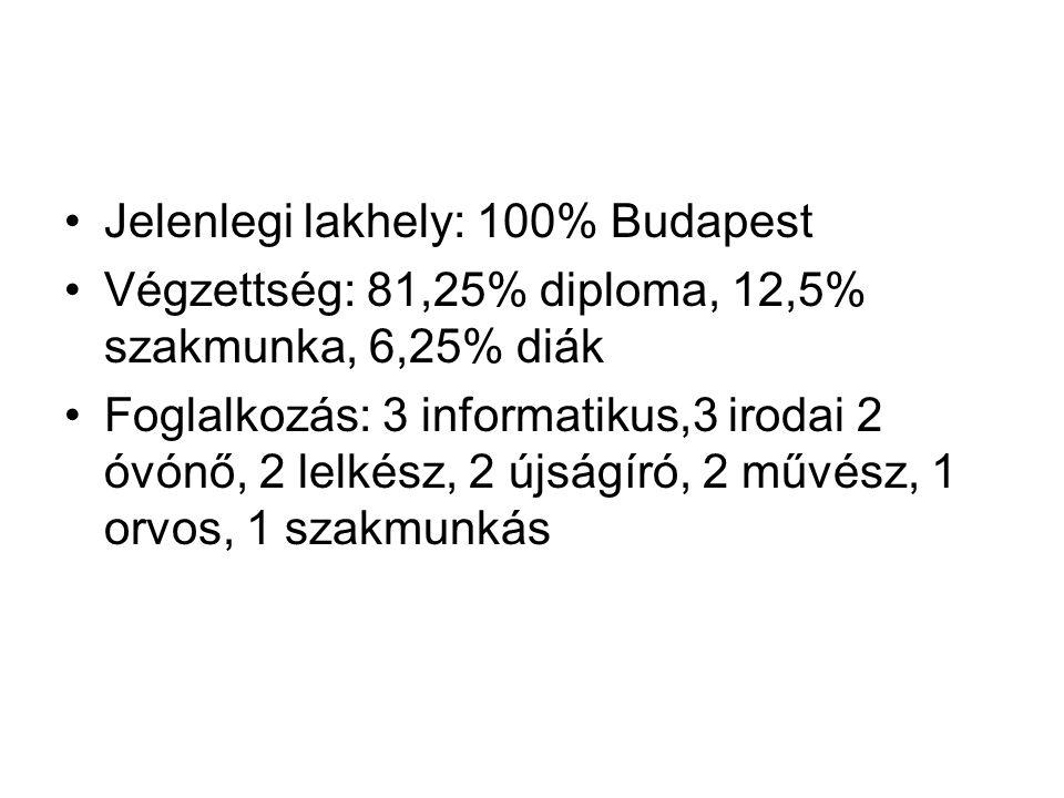 Jelenlegi lakhely: 100% Budapest Végzettség: 81,25% diploma, 12,5% szakmunka, 6,25% diák Foglalkozás: 3 informatikus,3 irodai 2 óvónő, 2 lelkész, 2 újságíró, 2 művész, 1 orvos, 1 szakmunkás