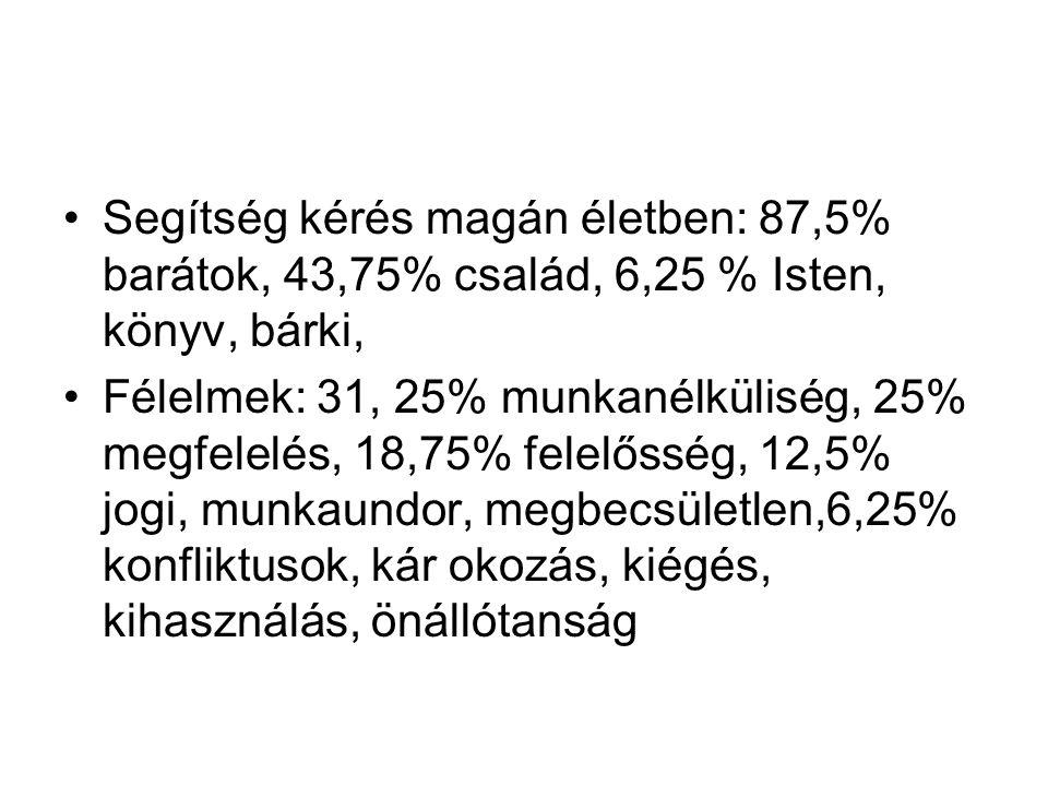 Segítség kérés magán életben: 87,5% barátok, 43,75% család, 6,25 % Isten, könyv, bárki, Félelmek: 31, 25% munkanélküliség, 25% megfelelés, 18,75% fele