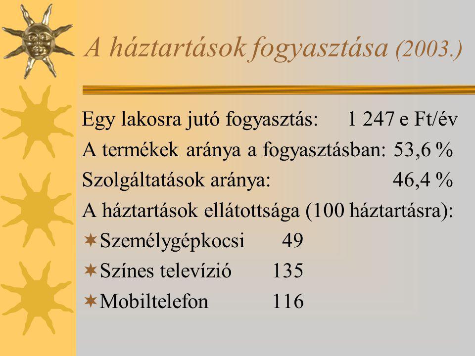 A háztartások fogyasztása (2003.) Egy lakosra jutó fogyasztás: 1 247 e Ft/év A termékek aránya a fogyasztásban: 53,6 % Szolgáltatások aránya: 46,4 % A