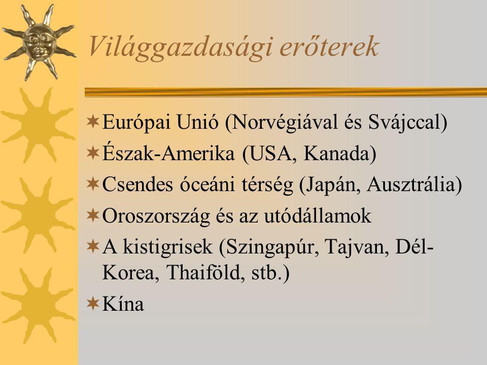 Világgazdasági erőterek  Európai Unió (Norvégiával és Svájccal)  Észak-Amerika (USA, Kanada)  Csendes óceáni térség (Japán, Ausztrália)  Oroszorsz