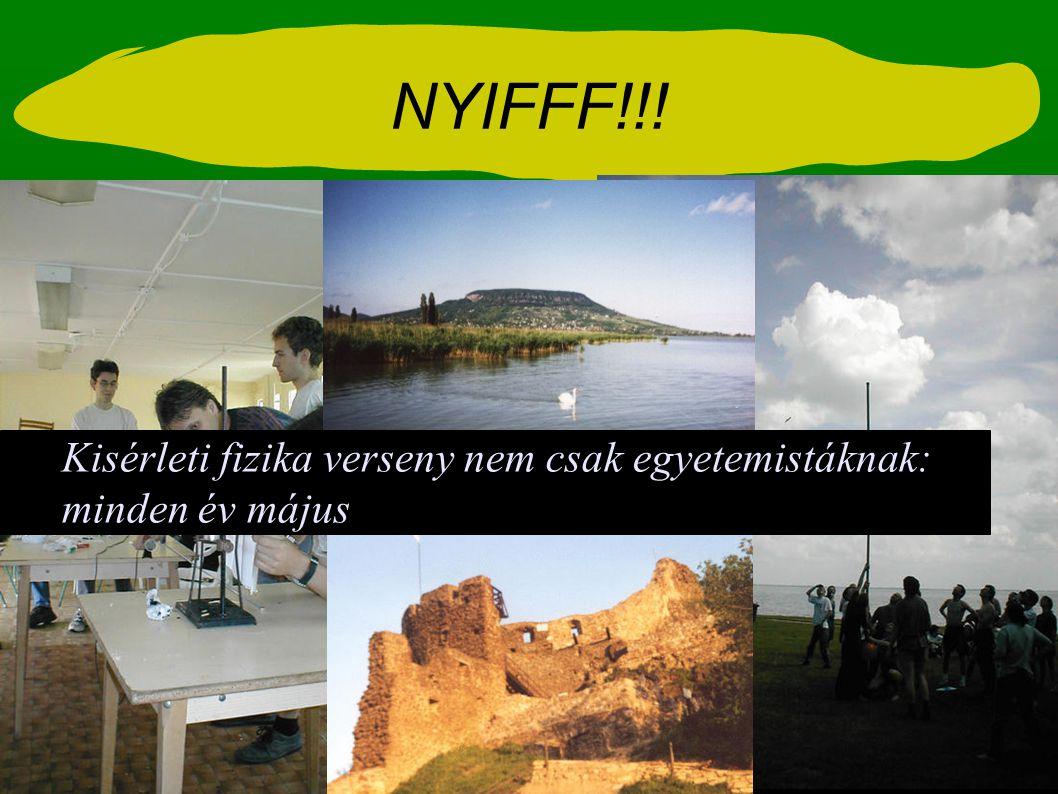 NYIFFF!!! Kisérleti fizika verseny nem csak egyetemistáknak: minden év május