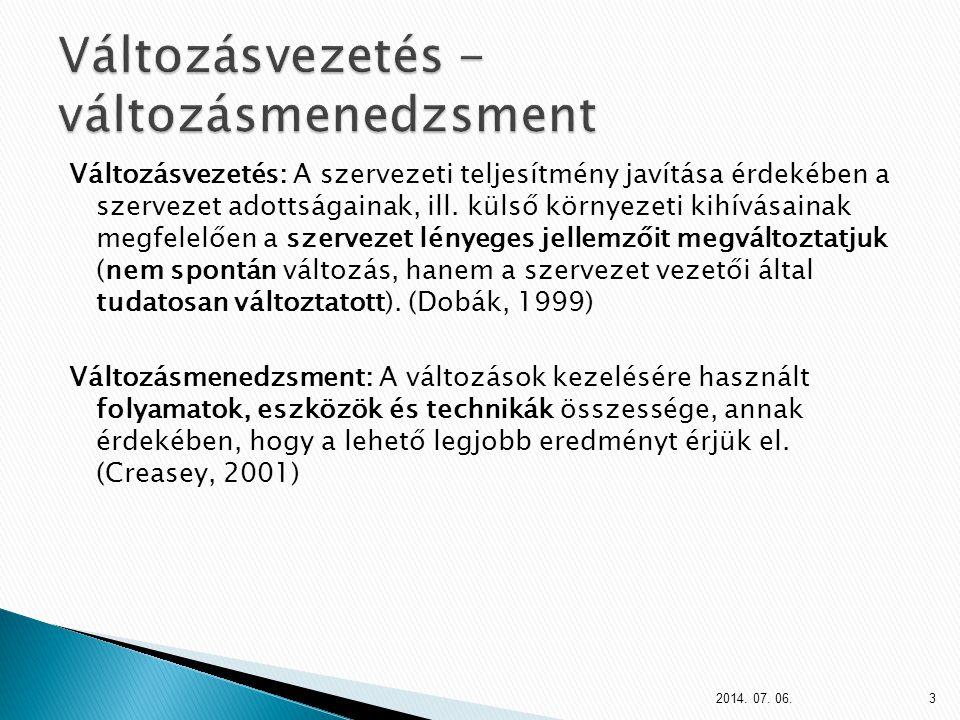 Változásvezetés: A szervezeti teljesítmény javítása érdekében a szervezet adottságainak, ill.