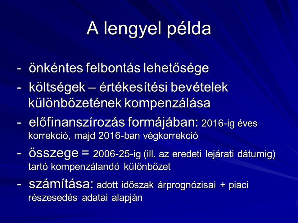 A lengyel példa - önkéntes felbontás lehetősége - költségek – értékesítési bevételek különbözetének kompenzálása - előfinanszírozás formájában: 2016-ig éves korrekció, majd 2016-ban végkorrekció - összege = 2006-25-ig (ill.