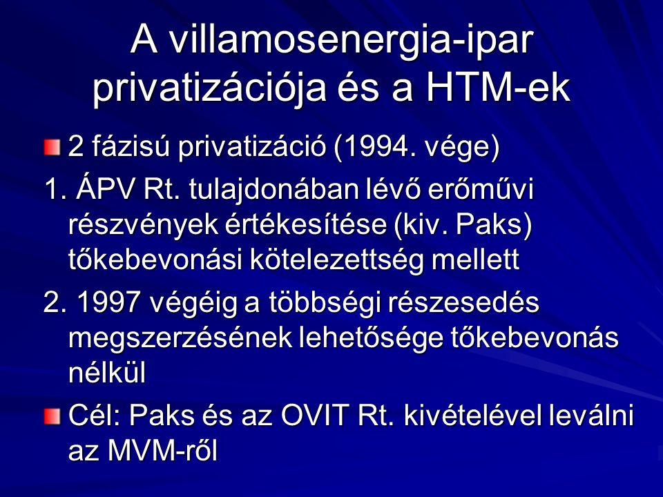 A villamosenergia-ipar privatizációja és a HTM-ek 2 fázisú privatizáció (1994. vége) 1. ÁPV Rt. tulajdonában lévő erőművi részvények értékesítése (kiv