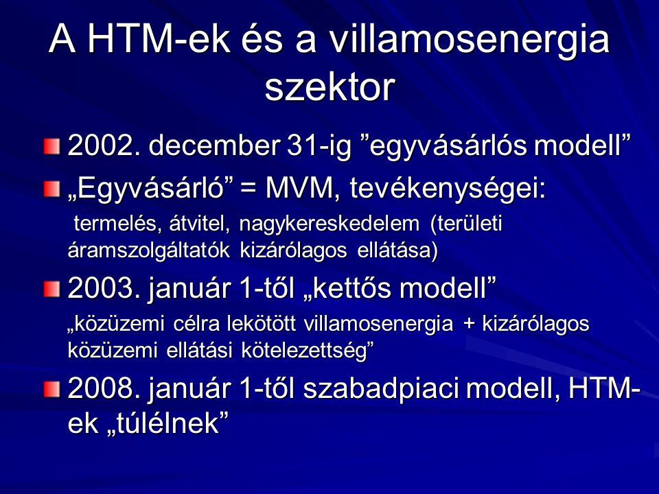 """A HTM-ek és a villamosenergia szektor 2002. december 31-ig """"egyvásárlós modell"""" """"Egyvásárló"""" = MVM, tevékenységei: termelés, átvitel, nagykereskedelem"""