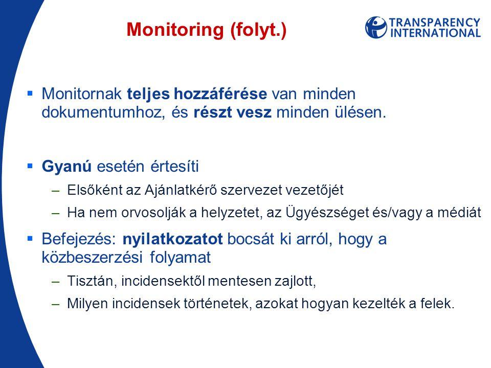 Monitoring (folyt.)  Monitornak teljes hozzáférése van minden dokumentumhoz, és részt vesz minden ülésen.