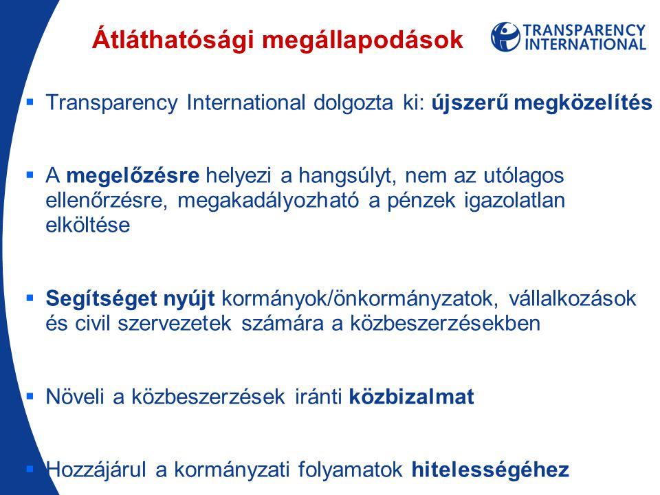 Átláthatósági megállapodások  Transparency International dolgozta ki: újszerű megközelítés  A megelőzésre helyezi a hangsúlyt, nem az utólagos ellenőrzésre, megakadályozható a pénzek igazolatlan elköltése  Segítséget nyújt kormányok/önkormányzatok, vállalkozások és civil szervezetek számára a közbeszerzésekben  Növeli a közbeszerzések iránti közbizalmat  Hozzájárul a kormányzati folyamatok hitelességéhez