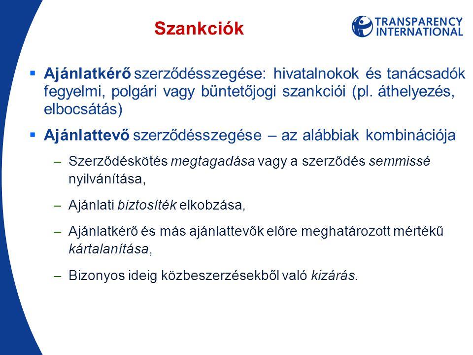 Szankciók  Ajánlatkérő szerződésszegése: hivatalnokok és tanácsadók fegyelmi, polgári vagy büntetőjogi szankciói (pl.