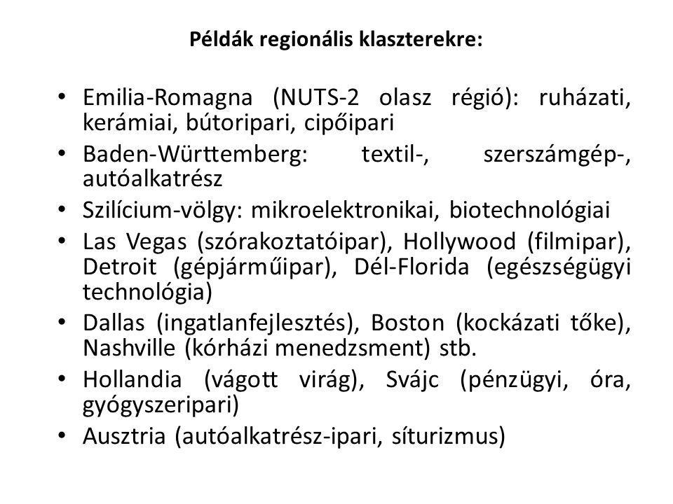 Példák regionális klaszterekre: Emilia-Romagna (NUTS-2 olasz régió): ruházati, kerámiai, bútoripari, cipőipari Baden-Württemberg: textil-, szerszámgép-, autóalkatrész Szilícium-völgy: mikroelektronikai, biotechnológiai Las Vegas (szórakoztatóipar), Hollywood (filmipar), Detroit (gépjárműipar), Dél-Florida (egészségügyi technológia) Dallas (ingatlanfejlesztés), Boston (kockázati tőke), Nashville (kórházi menedzsment) stb.