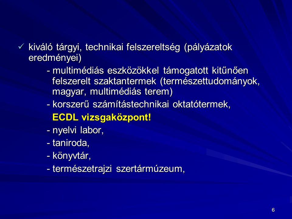 6 kiváló tárgyi, technikai felszereltség (pályázatok eredményei) kiváló tárgyi, technikai felszereltség (pályázatok eredményei) - multimédiás eszközökkel támogatott kitűnően felszerelt szaktantermek (természettudományok, magyar, multimédiás terem) - korszerű számítástechnikai oktatótermek, ECDL vizsgaközpont.