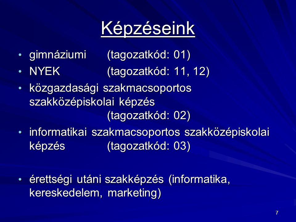 7 Képzéseink gimnáziumi (tagozatkód: 01) gimnáziumi (tagozatkód: 01) NYEK (tagozatkód: 11, 12) NYEK (tagozatkód: 11, 12) közgazdasági szakmacsoportos szakközépiskolai képzés (tagozatkód: 02) közgazdasági szakmacsoportos szakközépiskolai képzés (tagozatkód: 02) informatikai szakmacsoportos szakközépiskolai képzés (tagozatkód: 03) informatikai szakmacsoportos szakközépiskolai képzés (tagozatkód: 03) érettségi utáni szakképzés (informatika, kereskedelem, marketing) érettségi utáni szakképzés (informatika, kereskedelem, marketing)