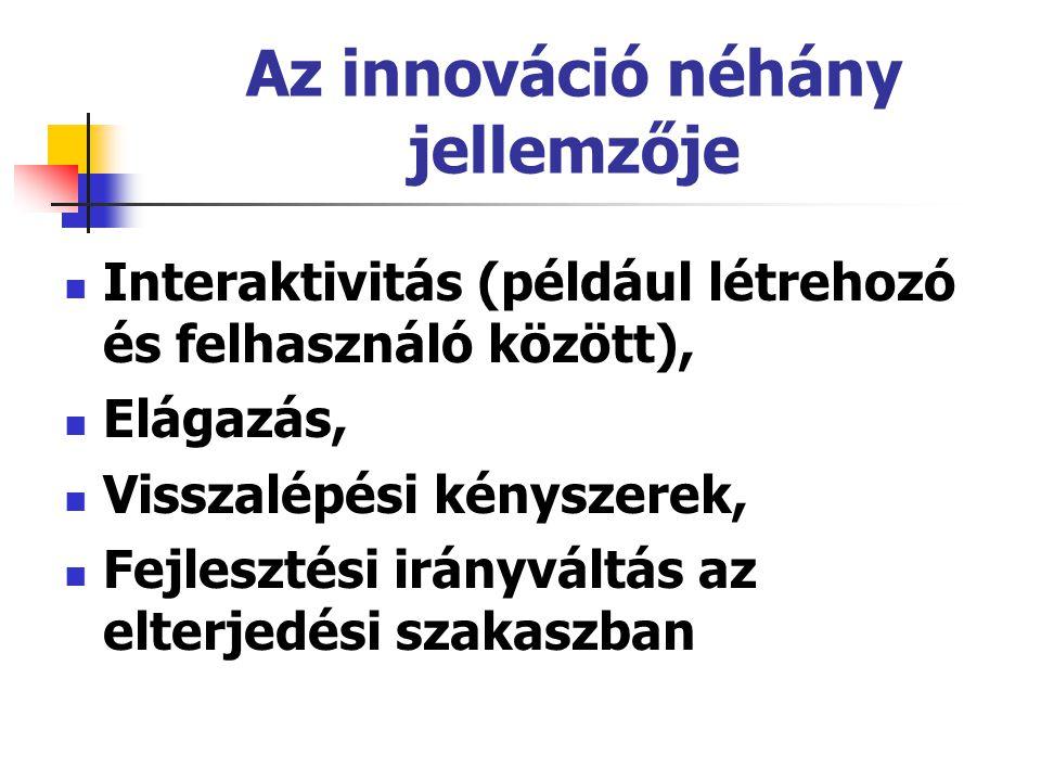 Az innováció néhány jellemzője Interaktivitás (például létrehozó és felhasználó között), Elágazás, Visszalépési kényszerek, Fejlesztési irányváltás az