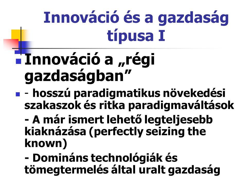 """Innováció és a gazdaság típusa I Innováció a """"régi gazdaságban"""" - hosszú paradigmatikus növekedési szakaszok és ritka paradigmaváltások - A már ismert"""