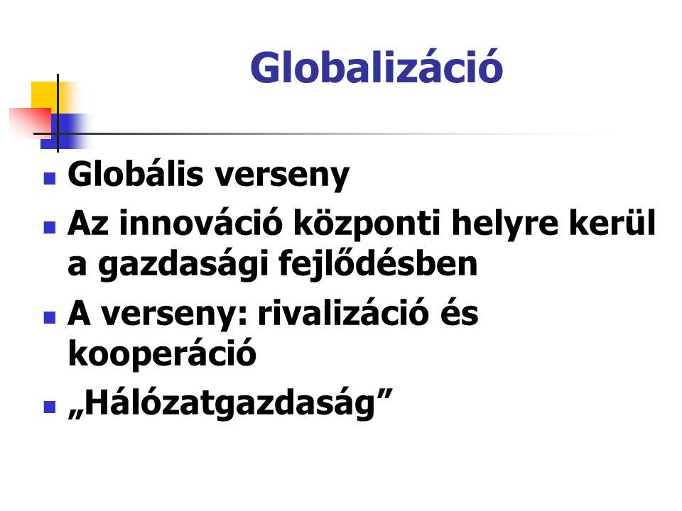 """Globalizáció Globális verseny Az innováció központi helyre kerül a gazdasági fejlődésben A verseny: rivalizáció és kooperáció """"Hálózatgazdaság"""""""