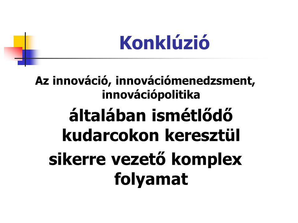 Konklúzió Az innováció, innovációmenedzsment, innovációpolitika általában ismétlődő kudarcokon keresztül sikerre vezető komplex folyamat