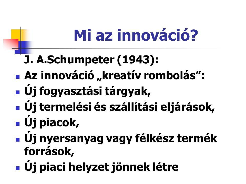 """Mi az innováció? J. A.Schumpeter (1943): Az innováció """"kreatív rombolás"""": Új fogyasztási tárgyak, Új termelési és szállítási eljárások, Új piacok, Új"""