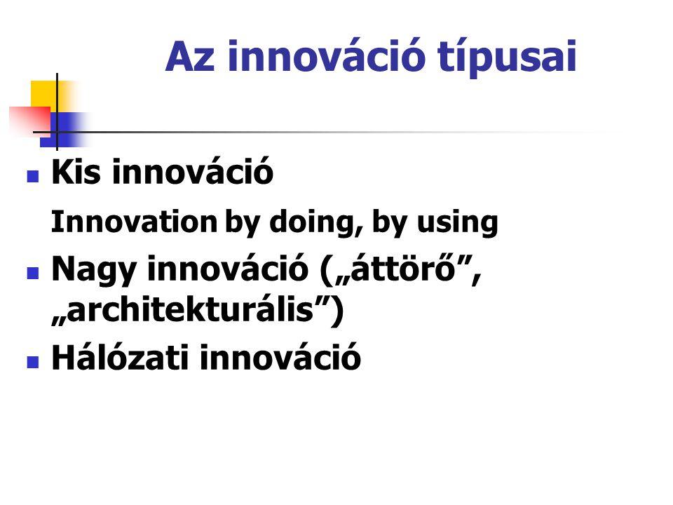 """Az innováció típusai Kis innováció Innovation by doing, by using Nagy innováció (""""áttörő"""", """"architekturális"""") Hálózati innováció"""