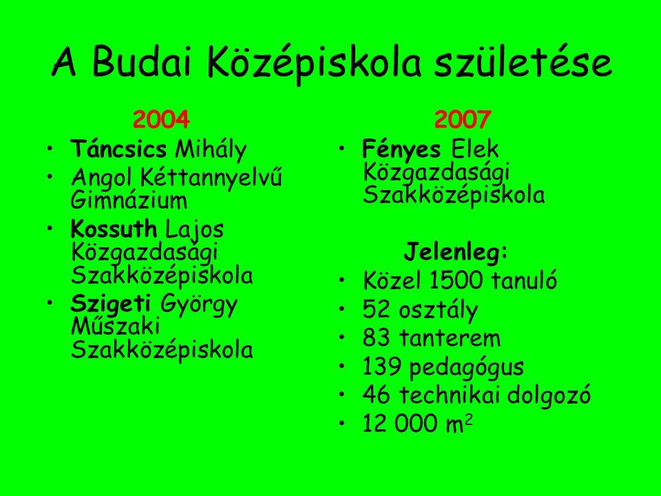 A Budai Középiskola születése 2004 Táncsics Mihály Angol Kéttannyelvű Gimnázium Kossuth Lajos Közgazdasági Szakközépiskola Szigeti György Műszaki Szak