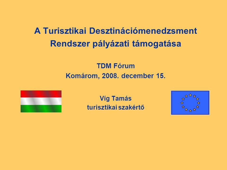 A Turisztikai Desztinációmenedzsment Rendszer pályázati támogatása TDM Fórum Komárom, 2008.