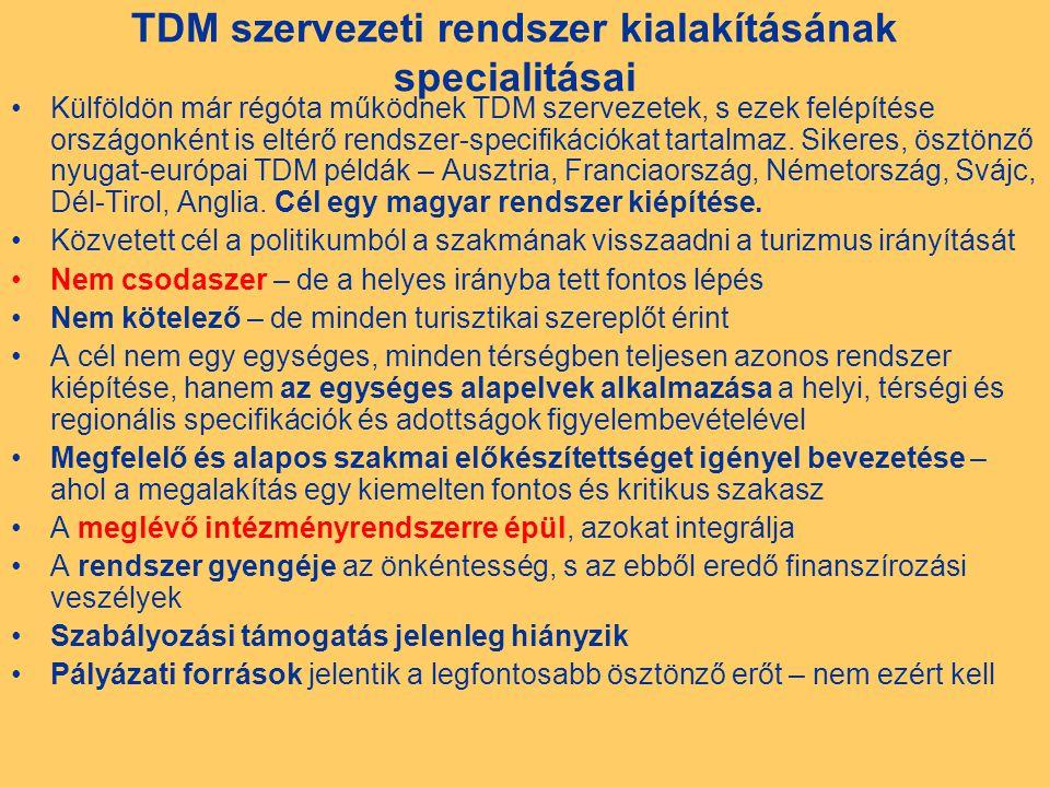 TDM szervezeti rendszer kialakításának specialitásai Külföldön már régóta működnek TDM szervezetek, s ezek felépítése országonként is eltérő rendszer-specifikációkat tartalmaz.