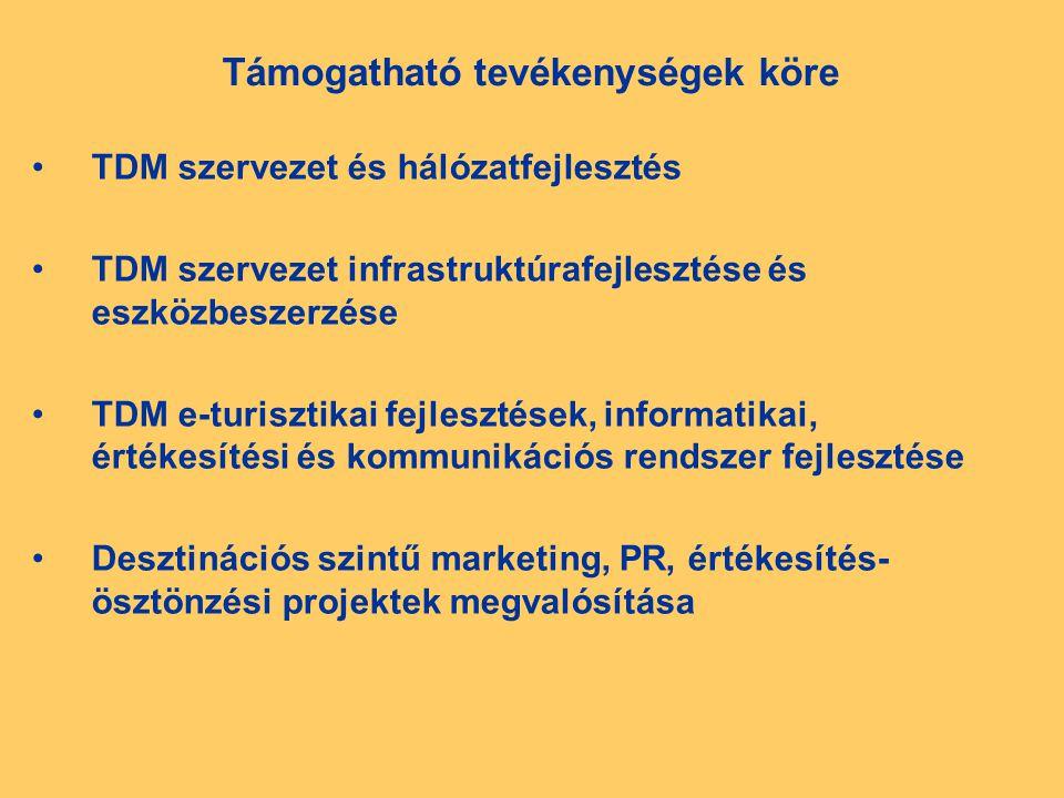 Támogatható tevékenységek köre TDM szervezet és hálózatfejlesztés TDM szervezet infrastruktúrafejlesztése és eszközbeszerzése TDM e-turisztikai fejlesztések, informatikai, értékesítési és kommunikációs rendszer fejlesztése Desztinációs szintű marketing, PR, értékesítés- ösztönzési projektek megvalósítása