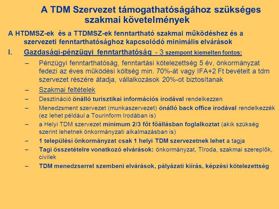 A TDM Szervezet támogathatóságához szükséges szakmai követelmények A HTDMSZ-ek és a TTDMSZ-ek fenntartható szakmai működéshez és a szervezeti fenntarthatósághoz kapcsolódó minimális elvárások I.Gazdasági-pénzügyi fenntarthatóság - 3 szempont kiemelten fontos: –Pénzügyi fenntarthatóság, fenntartási kötelezettség 5 év, önkormányzat fedezi az éves működési költség min.